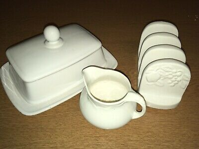 White China Breakfast Set Toast Rack Jug And Butter Dish • 2.21£