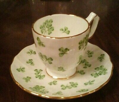 An Aynsley Coffee Cup And Saucer With A 3 Leaf Clover Pattern. • 5£