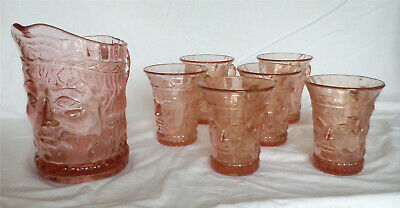 Art Deco - Pink - Pressed Glass Jug With 6 Glasses Each With Image Of A Face • 49.99£