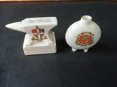 Shelley Crested China, Anvil & Model Of Chinese Vase, Luton & Ripon • 3£