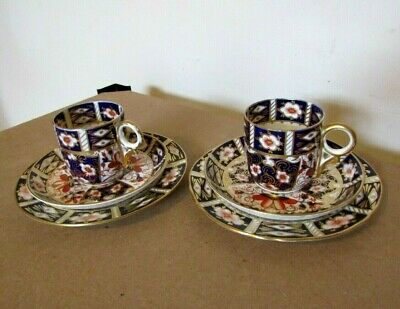 2 X Royal Crown Derby Imari 2451  Demitasse Cup, Saucer & Side Plate Trio's • 29.99£