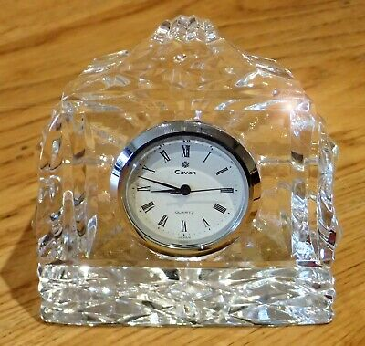CAVAN CRYSTAL GLASS CLOCK, IRELAND, SMALL SIZE, Needs Battery • 0.99£