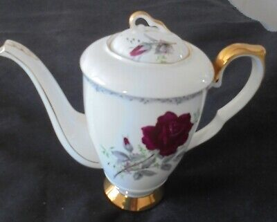 Vintage Royal Stafford Roses To Remember Red 1.5pt Coffee Pot & Lid 21cmh  • 28£
