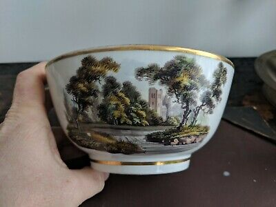 English Porcelain H-Painted Named View Bowl 1820 Biddle Castle Bucknall Church • 12£