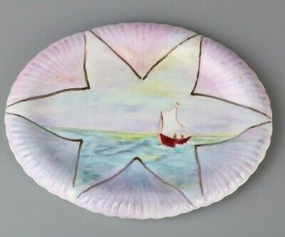 Unusual Shelley China Dish, Hand Painted, Sailing Boat, Dainty White Rd 272101 • 12£