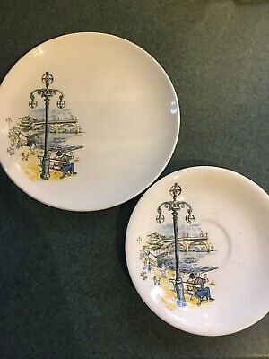 Crown Clarence Paris Holiday Side Plate And Saucer • 9£