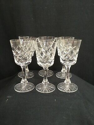 Set Of 6 Vintage 11.5cm Cut Crystal Glass Sherry Port Glasses Exc Con • 7.95£