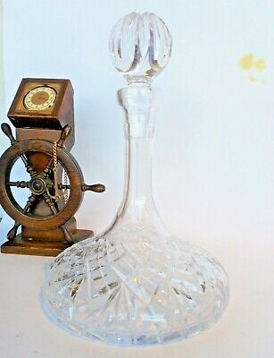Large Heavy Cut Glass Ships Port / Wine Decanter • 15£