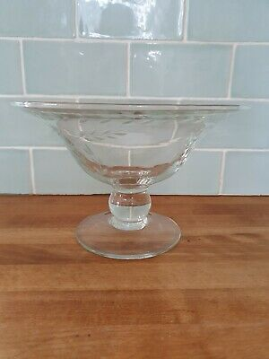 LAURA ASHLEY LAUREL CRYSTAL FOOTED FRUIT / SWEET BOWL CENTRE PIECE 9.5  X 6  • 25£