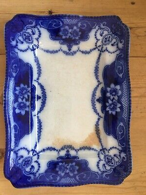 Antique F&Sons Burslem Douglas Flow Blue Rectangular Serving Platter • 35£