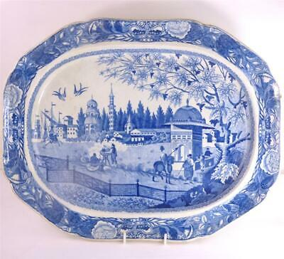 M109 Large Antique J&w Ridgeway Blue White Pearlware Charger Eastern Port • 249.99£