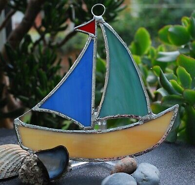 Handmade Stained Glass Sailing Boat • 14.99£