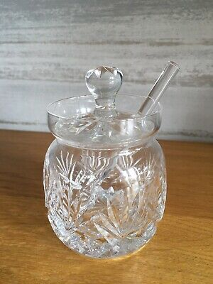 Crystal Cut Glass Jam Honey Relish Preserve Pot With Lid And Spoon AFTERNOON TEA • 9.99£