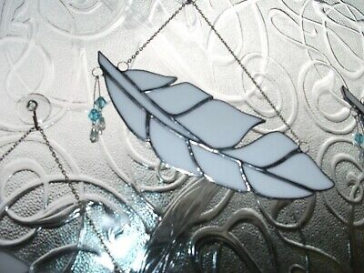 Stained Glass Handmade Angel Feather Sun-catcher / Window Decoration • 12£