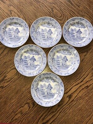 Set Of 6 Vintage Two Temples Blue & White Small Plates China • 19.99£