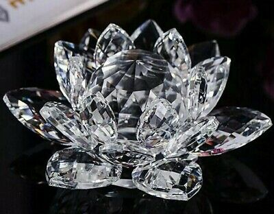 Large Clear Crystal Lotus Flower Ornament With Gift Box  Crystocraft Home Decor • 11.99£