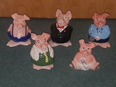 Natwest Collectable Wade Piggy Banks Set Of 5 & Stoppers 80's *SUPPORTS NHS* • 84.99£
