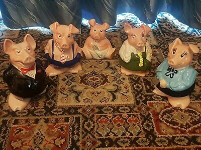 Natwest Collectable Wade Piggy Banks Set Of 5 With Original Stoppers 80's - VGC • 69.99£