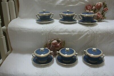 Crescent George Jones  Chocolate Cups & Stands & Lids Blue  White Gilt X 6   23 • 90£
