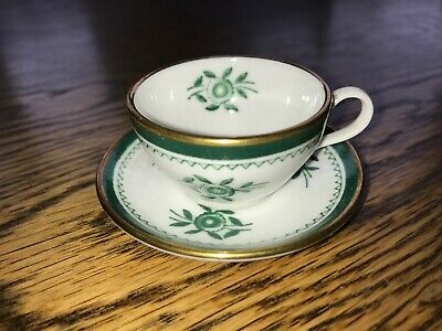 Copeland Spode Miniature Cup & Saucer Green Flower Gold Rim Vintage China • 8.70£