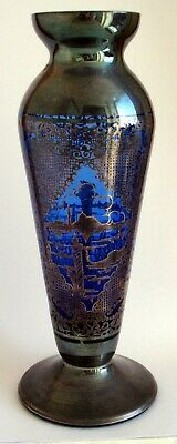Attractive Blue Glass Vase With Venetian  Overlay • 3.99£