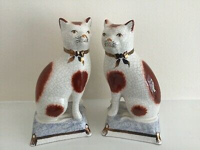 Two Medium Staffordshire Cats Ceramic Figurines Kent Sitting On A Pillow • 25£