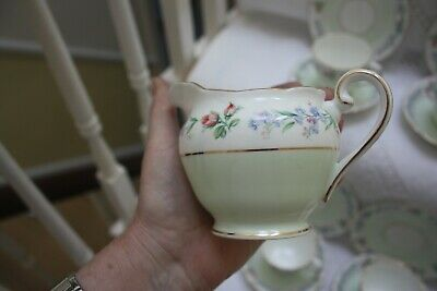 Beautiful  Adderley China Tea Set 21 Pieces Pale Green & Floral C 1950,s 28 • 60£