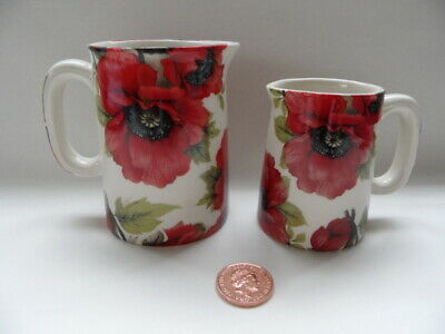 **heron Cross Pottery** Matching Little Jugs - Red Poppies - Very Pretty! Bnwot • 4.99£