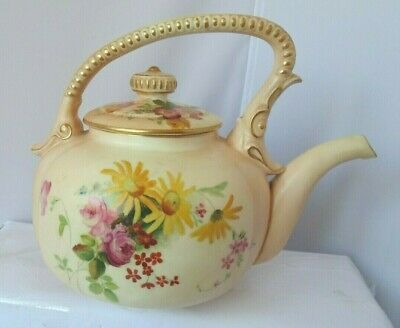 Royal Worcester Ca 1900 Flower/Biscuit Colour Teapot A?F • 14.99£