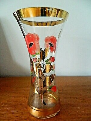 Vintage Chance Glass Vase With Poppy Decoration • 8.95£