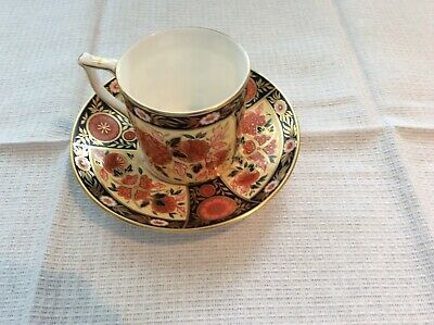 Royal Crown Derby Coffee Can And Saucer. Antique Chrysanthemum Pattern • 20£