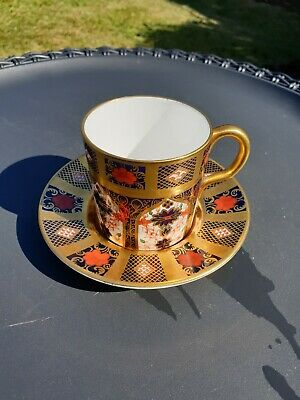 Royal Crown Derby Old Imari Solid Gold Band 1128 Coffee Cup & Saucer • 89£