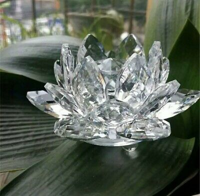 Large Clear Crystal Lotus Flower Ornament With Gift Box  Home Decor • 11.99£