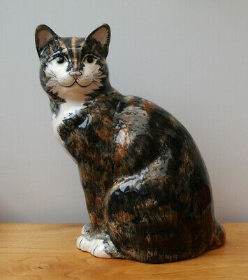 Large Babbacombe Pottery Tortoise Shell Colour Cat - 27cms High - Lownds Pateman • 49.99£