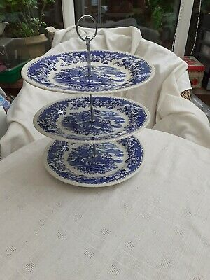 Woods Ware Seaforth Blue & White Plates 3 Tier Cake Stand • 15£
