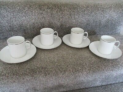 Thomas (Germany)  Platinum  Band 4 X Coffee Cups/Cans & Saucers • 12.99£