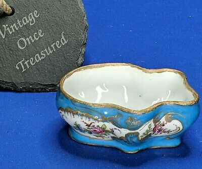 Antique Meissen Small Floral Pot, Dish, Bowl * Hand Painted * Turquoise, Gold • 124.95£