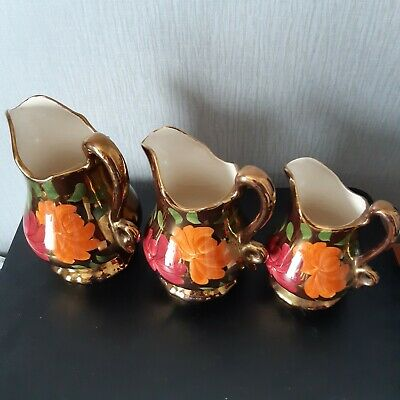 Vintage Oldcourt Pottery Lustre Ware 1930's Hand Painted 3 X Set Jugs VF  Don'tC • 25£