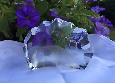 MATS JONASSON Signed ART GLASS. Etched Crystal Sculpture Of SEAL CUB. Sweden. • 22£