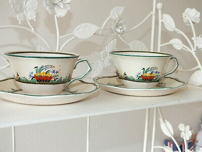 John Maddock & Sons Minerva Art Deco Cup And Saucer Duo X 2 • 12£