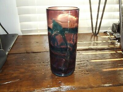 VINTAGE M. HARRIS FOR MDINA AMETHYST GLASS VASE 20TH No Reserve!! • 1.35£
