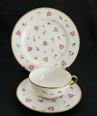VINTAGE LIMOGES 1930's HAND DECORATED FLORAL TRIO - CUP, SAUCER & PLATE    (1) • 12.95£