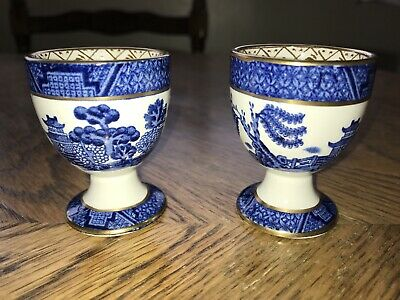 Pair Vintage Booths Real Old Willow Blue & White Egg Cups • 19.99£