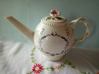 A Leeds Pottery Cream Ware Tea Pot Hand Painted Early 1880s • 25£