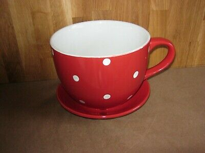 Large Red & White Spot Cup & Saucer Plant Pot • 5.99£