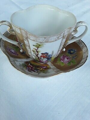 Lovely Antique Victorian Loving Cup And Saucer, Beautifully Gilded • 8.50£