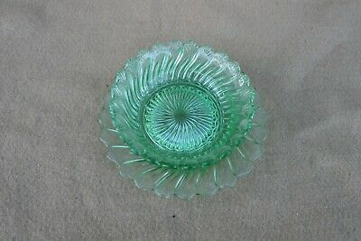 Vintage Green Glass Small Bowl And Saucer • 3.99£