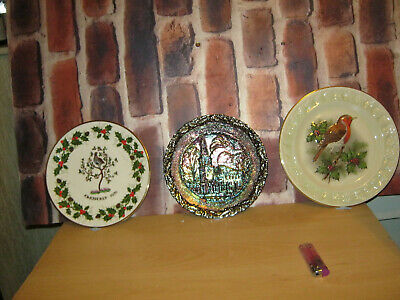 3 Collecters Plates Christmas Themes/fenton Lovely Coloured Plate/paisley Vale • 0.99£