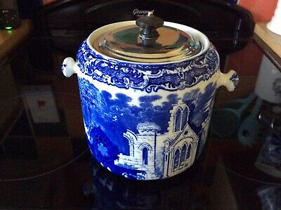 George Jones And Sons Blue Transfer Ware Large Biscuit Barrell • 27.11£