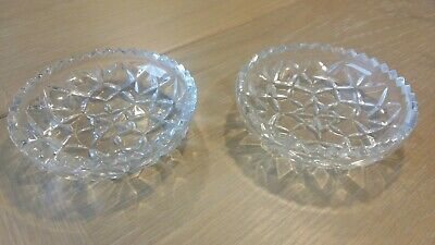 2 Pretty Vintage , Almost Antique, Pressed Glass Trinket / Pin Dishes • 7.50£